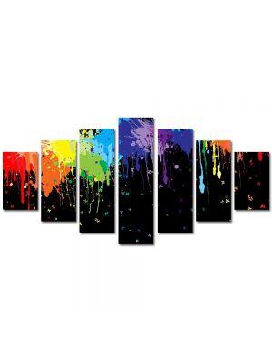 Set Tablouri Multicanvas 7 Piese Abstract Decorativ Pete colorate