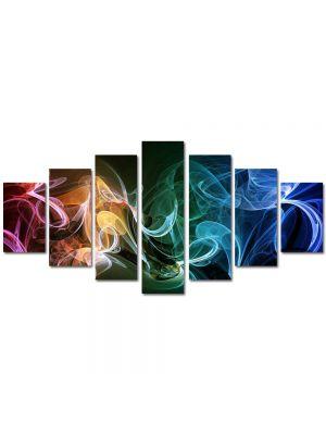 Set Tablouri Multicanvas 7 Piese Abstract Decorativ Fum multicolor