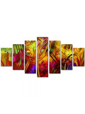 Set Tablouri Multicanvas 7 Piese Abstract Decorativ Colorat