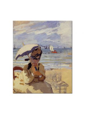 Tablou Arta Clasica Pictor Claude Monet Camille Sitting on the Beach at Trouville 1871 80 x 90 cm