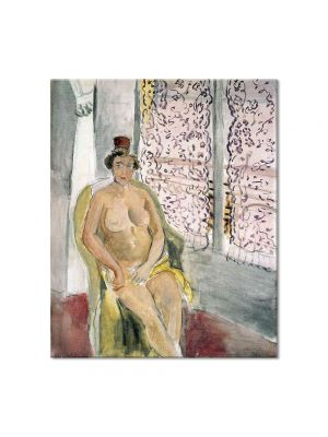Tablou Arta Clasica Pictor Henri Matisse Seated by a Curtained Window 1924 80 x 90 cm