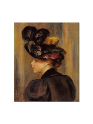 Tablou Arta Clasica Pictor Pierre-Auguste Renoir Young woman wearing a black hat 1895 80 x 90 cm