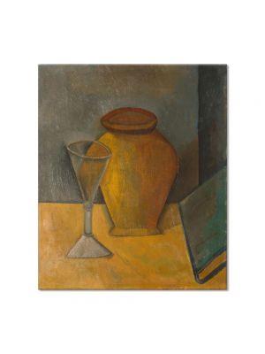 Tablou Arta Clasica Pictor Pablo Picasso Pot, Glass and Book 1908 80 x 90 cm