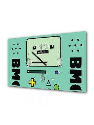 Tablou Canvas cu Ceas Animatie pentru Copii Adventure Time Beemo, 30 x 45 cm