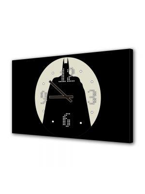 Tablou Canvas cu Ceas Animatie pentru Copii Batman in umbra, 30 x 45 cm