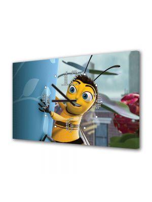Tablou Canvas cu Ceas Animatie pentru Copii Bee Mobie 2007, 30 x 45 cm