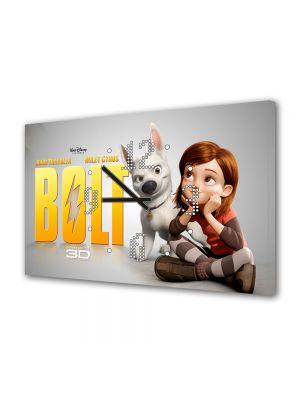 Tablou Canvas cu Ceas Animatie pentru Copii Bolt Afis, 30 x 45 cm