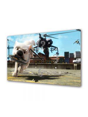Tablou Canvas cu Ceas Animatie pentru Copii Bolt Alergand cu Bomba, 30 x 45 cm