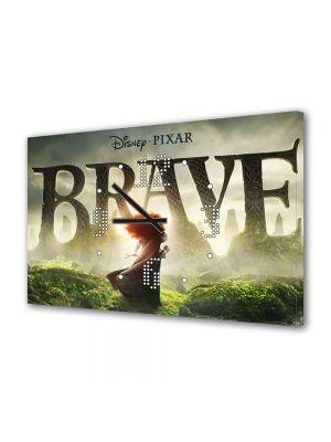Tablou Canvas cu Ceas Animatie pentru Copii Brave 2, 30 x 45 cm