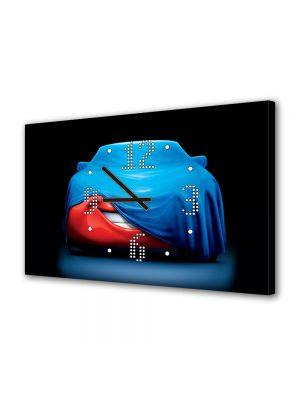 Tablou Canvas cu Ceas Animatie pentru Copii McQueen Acoperit, 30 x 45 cm