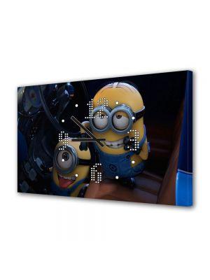 Tablou Canvas cu Ceas Animatie pentru Copii Minions, 30 x 45 cm