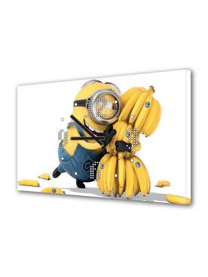 Tablou Canvas cu Ceas Animatie pentru Copii Minionul si Banana, 30 x 45 cm