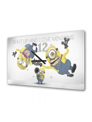 Tablou Canvas cu Ceas Animatie pentru Copii Iubeste Minionii, 30 x 45 cm