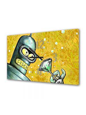 Tablou Canvas cu Ceas Animatie pentru Copii Futurama Bender, 30 x 45 cm