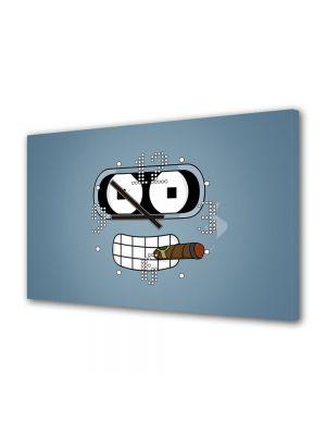 Tablou Canvas cu Ceas Animatie pentru Copii Futurama Bender cu Trabuc, 30 x 45 cm