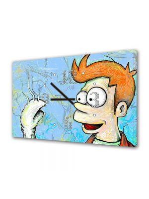Tablou Canvas cu Ceas Animatie pentru Copii Futurama Fry, 30 x 45 cm
