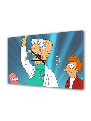 Tablou Canvas cu Ceas Animatie pentru Copii Echipa din Futurama, 30 x 45 cm