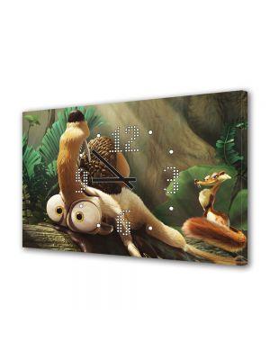 Tablou Canvas cu Ceas Animatie pentru Copii Ice Age Dawn of the Dinosaurs, 30 x 45 cm