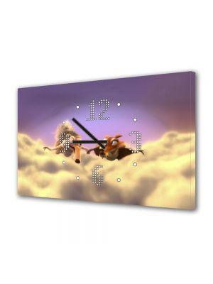 Tablou Canvas cu Ceas Animatie pentru Copii Ice Age 3 Scrat si Scratte, 30 x 45 cm