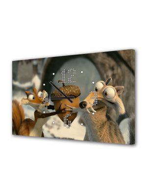 Tablou Canvas cu Ceas Animatie pentru Copii Ice Age Dawn of the Dinosaurs 2, 30 x 45 cm