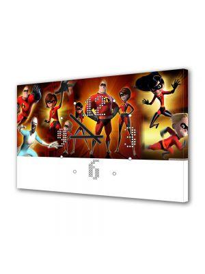 Tablou Canvas cu Ceas Animatie pentru Copii Incredibilii, 30 x 45 cm
