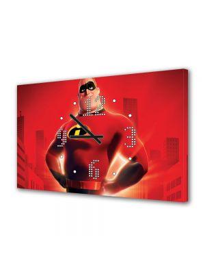 Tablou Canvas cu Ceas Animatie pentru Copii Mr Incredible, 30 x 45 cm