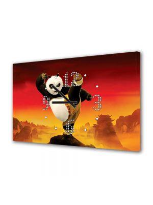 Tablou Canvas cu Ceas Animatie pentru Copii Kung Fu Panda 2 2011, 30 x 45 cm