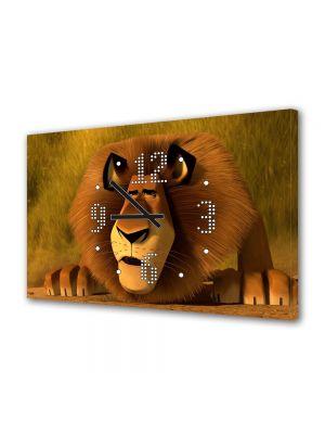 Tablou Canvas cu Ceas Animatie pentru Copii Madagascar 3 Leul Alex, 30 x 45 cm