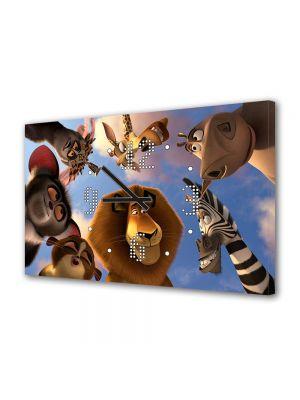 Tablou Canvas cu Ceas Animatie pentru Copii Animalele din Madagascar 3, 30 x 45 cm