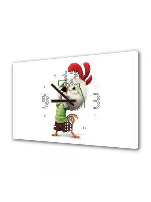 Tablou Canvas cu Ceas Animatie pentru Copii Chicken Little Animatie, 30 x 45 cm