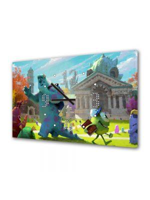 Tablou Canvas cu Ceas Animatie pentru Copii Monster University 2013 Concept, 30 x 45 cm