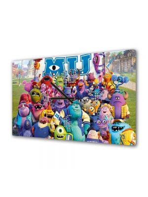 Tablou Canvas cu Ceas Animatie pentru Copii Monster University, 30 x 45 cm