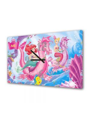 Tablou Canvas cu Ceas Animatie pentru Copii Disney Ariel, 30 x 45 cm