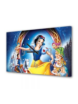 Tablou Canvas cu Ceas Animatie pentru Copii Disney Alba ca Zapada, 30 x 45 cm
