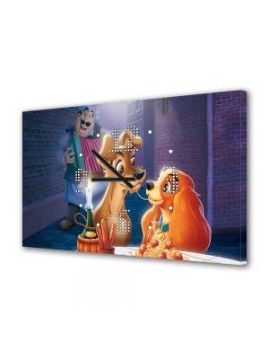 Tablou Canvas cu Ceas Animatie pentru Copii Disney Doamna si Vagabondul, 30 x 45 cm