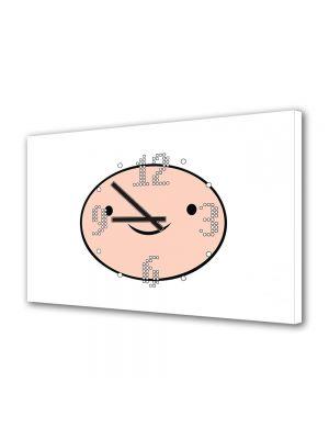 Tablou Canvas cu Ceas Animatie pentru Copii Adventure Time Finn, 30 x 45 cm