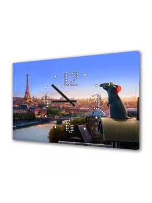 Tablou Canvas cu Ceas Animatie pentru Copii Ratatouille Remy, 30 x 45 cm