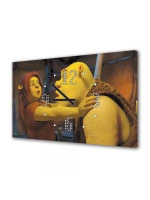 Tablou Canvas cu Ceas Animatie pentru Copii Shrek si Printesa Fiona, 30 x 45 cm