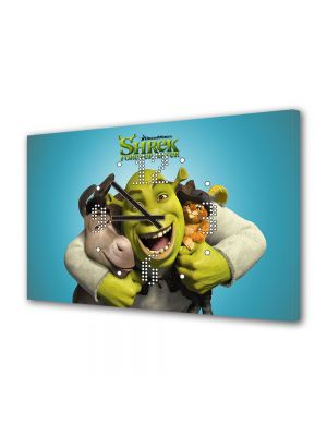 Tablou Canvas cu Ceas Animatie pentru Copii Shrek si Motanul Incaltat, 30 x 45 cm