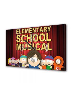 Tablou Canvas cu Ceas Animatie pentru Copii South Park Elementary School Musical, 30 x 45 cm