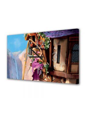 Tablou Canvas cu Ceas Animatie pentru Copii Tangled Rapunzel, 30 x 45 cm
