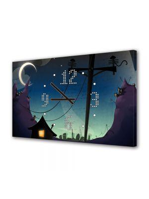 Tablou Canvas cu Ceas Animatie pentru Copii Desen Animat Arta, 30 x 45 cm