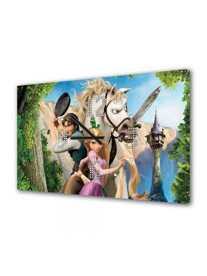Tablou Canvas cu Ceas Animatie pentru Copii Tangled Personaje, 30 x 45 cm