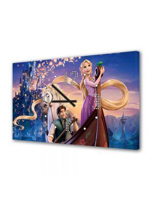 Tablou Canvas cu Ceas Animatie pentru Copii Tangled Scena cu Barca, 30 x 45 cm