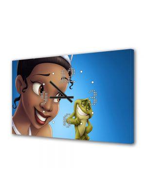 Tablou Canvas cu Ceas Animatie pentru Copii Printesa si Broasca, 30 x 45 cm