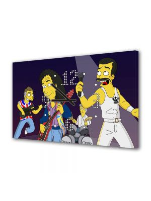 Tablou Canvas cu Ceas Animatie pentru Copii The Simpsons Queen, 30 x 45 cm