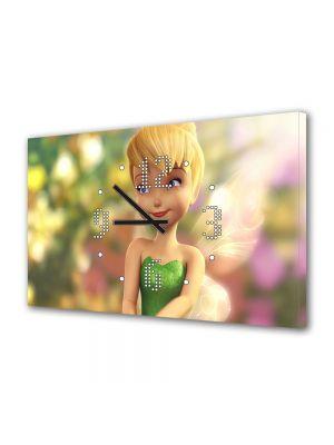 Tablou Canvas cu Ceas Animatie pentru Copii Tinkerbell, 30 x 45 cm