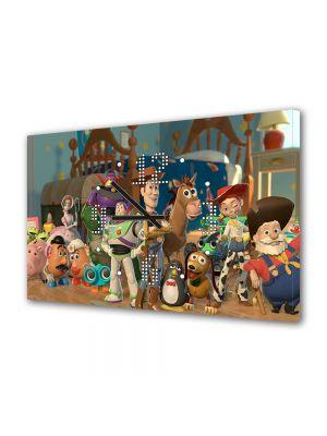 Tablou Canvas cu Ceas Animatie pentru Copii Toy Story 2 Personajele, 30 x 45 cm