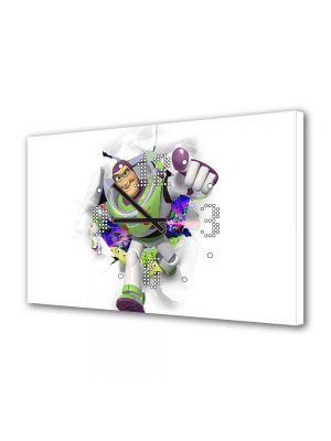 Tablou Canvas cu Ceas Animatie pentru Copii Toy Story Buzz Lighyear, 30 x 45 cm