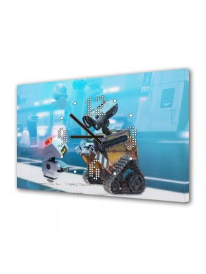 Tablou Canvas cu Ceas Animatie pentru Copii WallE, 30 x 45 cm